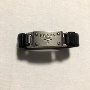 Prada Mens black leather bracelet